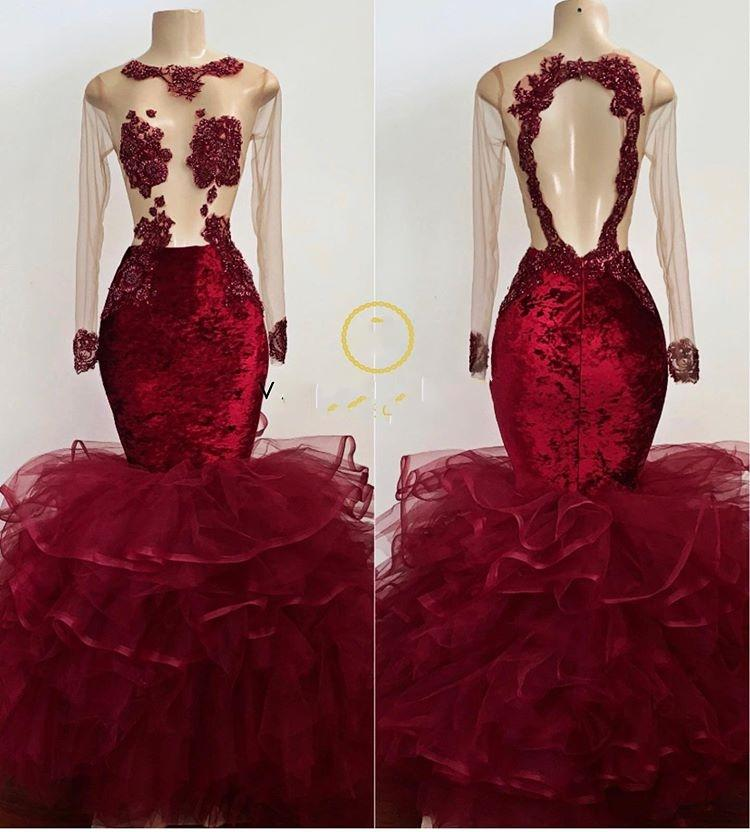 Luxury Dark Red Beaded Mermaid Black Girls Prom Dresses Sexy V-Neck African Evening Party Dress Long Sleeve Plus Size Dresses