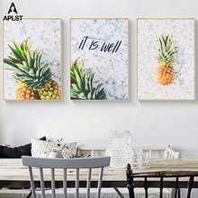 Tropical Fruit Pineapple On Marble Prints Paintings On Canvas Dining Room Picture Kitchen Poster Wall Art Living Room Home Decor(China)