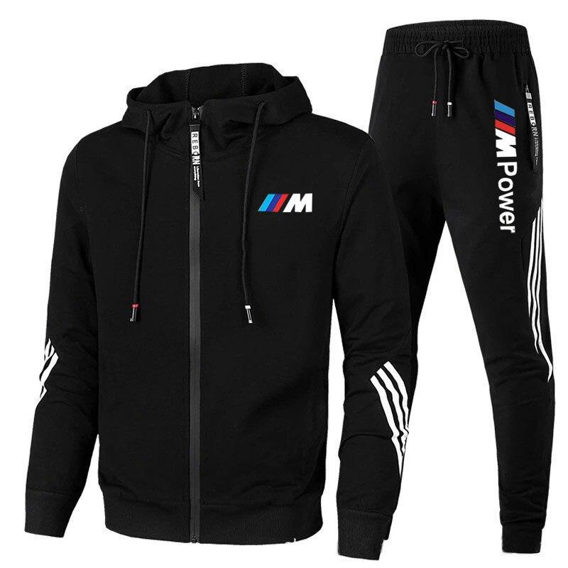 2021New BMW M männer Fußball Sets Zipper Hoodie + Hosen Zwei Stücke Lässige Männlichen Sportswear Gym Marke Kleidung schweiß Anzug