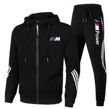 2021new bmw m conjuntos de futebol dos homens com zíper hoodie + calças duas peças casual treino masculino roupas esportivas ginásio marca suor terno