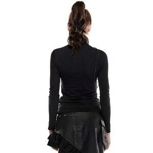 Image 3 - PUNK RAVE Steampunk col haut masque femme T shirts Stretch tricot couture élastique maille tissu hauts noirs Punk Rock T shirts gothique