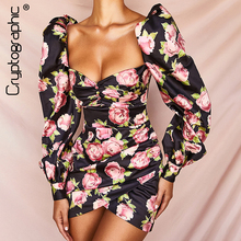 Cryptographic Square Collar Floral Print Sexy Backless Dress Chic Fashion Strapless Button Puff Sleeve Mini Dresses Fall 2019