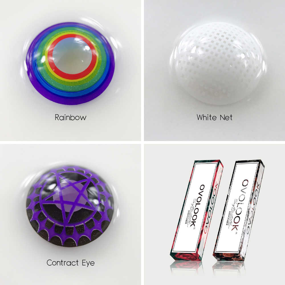OVOLOOK-1 para (2 sztuk) 6 ton Cosplay soczewki kontaktowe kolorowe soczewki do oczu Halloween kosmetyczne oko kolorowe szkła