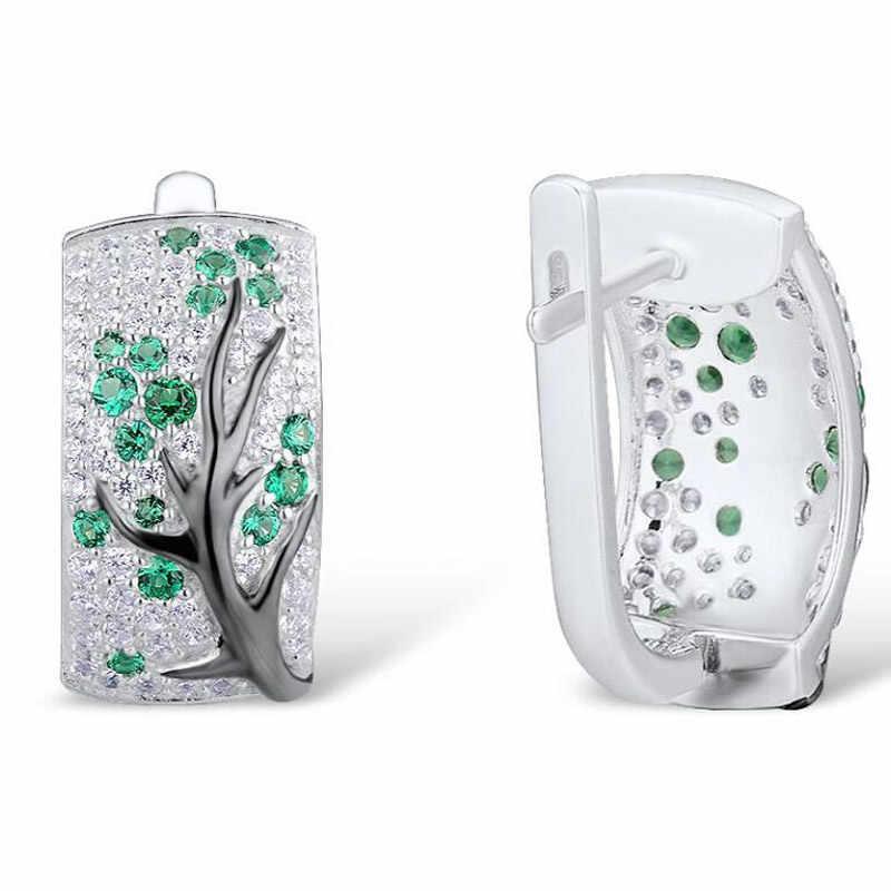 LETAPI เงินต่างหูผู้หญิง 925 เงินสเตอร์ลิงสีเขียวเชอร์รี่ Sparkling Cubic Zirconia brincos อินเทรนด์แฟชั่นเครื่องประดับ