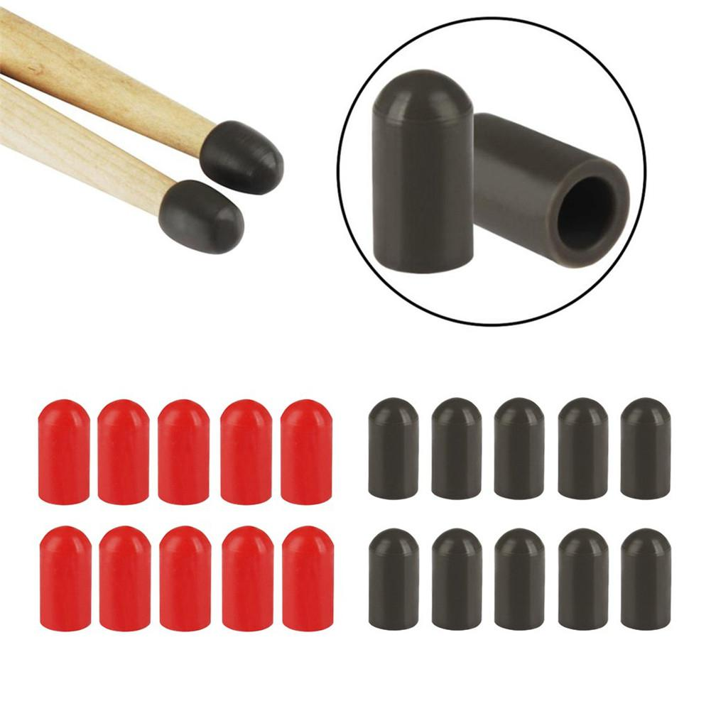 10Pcs Silicone Drum Stick Head Rubber Sleeve Drumstick Rubber Case Cover for Percussion Instruments Drum Accessories
