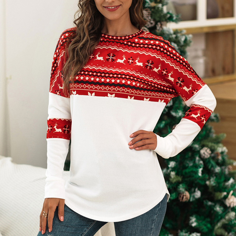 Christmas Tshirts Women Winter Casual Deer Printed Long Sleeve Lady Tee Tops O-neck Loose Patchwork T-shirts Christmas Clothes