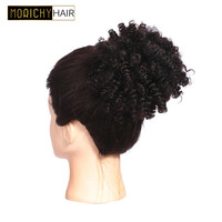 Brazilian Afro Bun Kinky Curly Short Ponytails Clip In Human Hair Extensions Morichy Non Remy Hair Natural Color For Woman