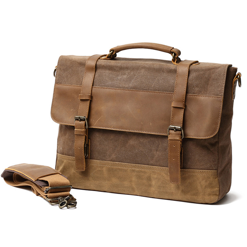 Retro MEN'S Bag Oil Wax Canvas Bag Leather Briefcase European And American-Style One-Shoulder Stylish Handbag