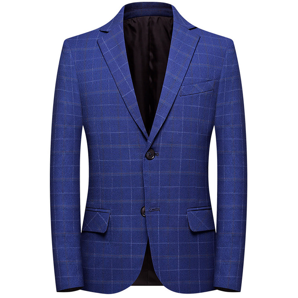 Fashion Men's Plaid Casual Suit Lapel Slim Fit Stylish Blazer Coat Dropshipping Low Price Discount Woman Man Style
