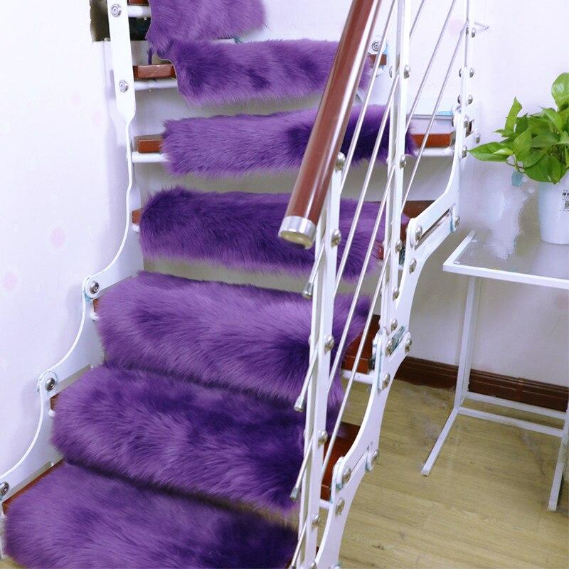 13 pièces Faux tapis en laine marches d'escalier tapis Rectangle tapis antidérapants tapis d'escalier tapis de marche - 2