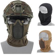 Tactische Full Face Stalen Gaas Masker Bivakmuts Jacht Airsoft Paintball Masker Cs Game Jacht Fietsen Beschermende Helm Liner Cap