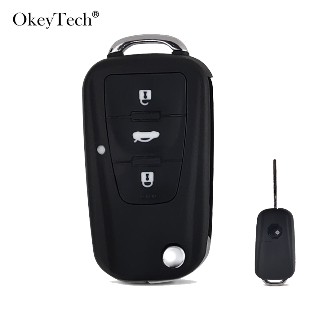 OkeyTech New 3 Button Folding Remote Key Shell Fob For Roewe MG5 MG7 MG GT GS 350 360 750 W5 Replacement Case Cover Uncut Blade