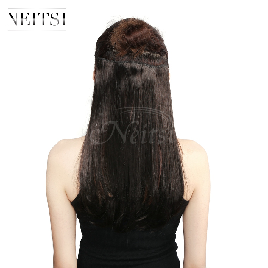 Neitsi 14'' 8 Clips 3Pcs/set 75G Natural Synthetic Straight Clip in Hair Extensions Heat Resistant For Women Dark Brown#