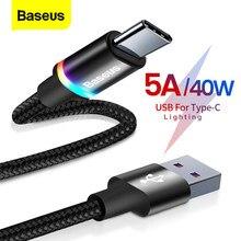 Baseus 5A USB Typ C Kabel Für Huawei Mate 30 20 P40 P30 P20 Pro Lite 40W SCP Schnelle lade Ladegerät USB-C Typ-C Kabel Draht Kabel