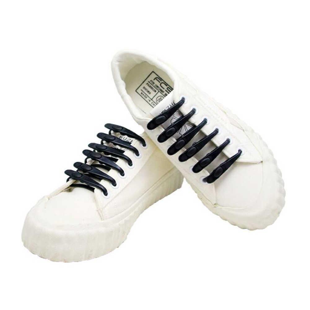 הגעה חדשה 1PCS עמיד למים סיליקון שרוכי v-עניבה נעל תחרה בטיחות נעלי אביזרי עגול אלסטי לא עניבה ספורט שרוכי