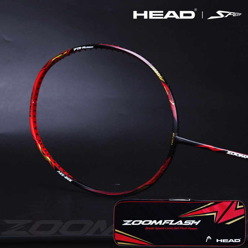 Original Head Zoomflash High Tension Badminton Racket Offensive 4u Lightweight Full Carbon Badminton Racket With Racket Cover