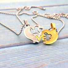 Fashion 50 60 70 80cm Gold Cute Love Long Bead Chain Pendant Stainless Steel Couple Crystal Heart Necklace For Women Men Gift(China)