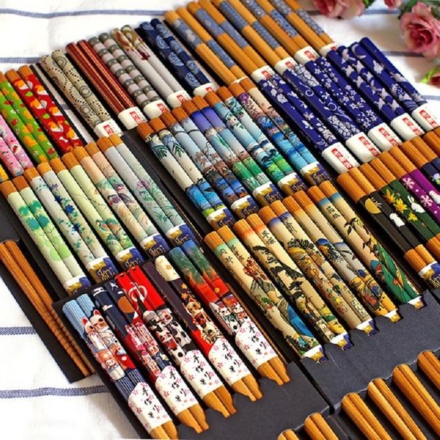 Фото 5 пар многоразовых бамбуковых японских палочки для суши из натурального