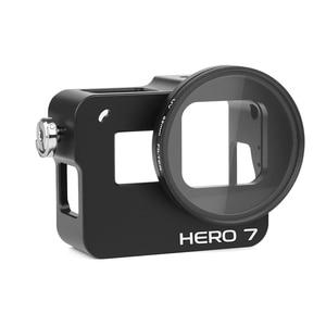 Image 2 - לירות CNC אלומיניום סגסוגת מגן מקרה הר עבור GoPro גיבור 7 6 5 שחור כלוב עם UV מסנן עבור ללכת פרו גיבור 7 6 5 אביזרים