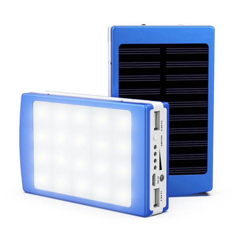 Dual USB Solar Energy Camping LED Flashlight 20000mAh Battery Case Powered Bank Box For Camping Hunting Torch Emergency Lights
