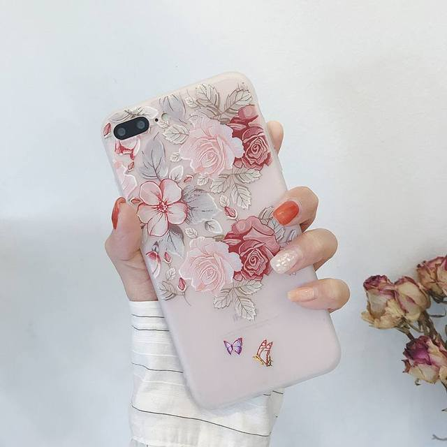Case For Samsung Galaxy A50 A30 A20 A10 A50S A30S 3D Relief Soft Silicone Flowers Case For Samsung S7 Egde S10 S8 S9 Plus Cover
