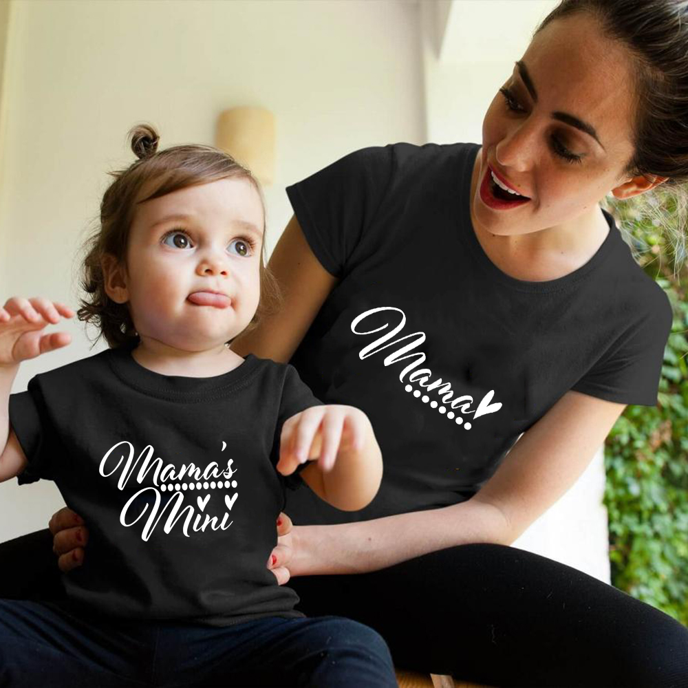 1pcs Mama Shirt Mama's Mini Mommy And Me Outfits Family Costumes Baby And Mom Matching Clothes Mommy Daughter Match Clothes