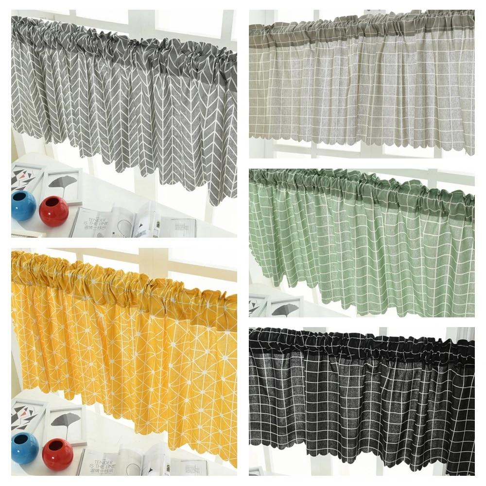 valance grid stripe style blackout window curtain valances short semi sheer curtains rod pocket window drapes for kitchen 45 150