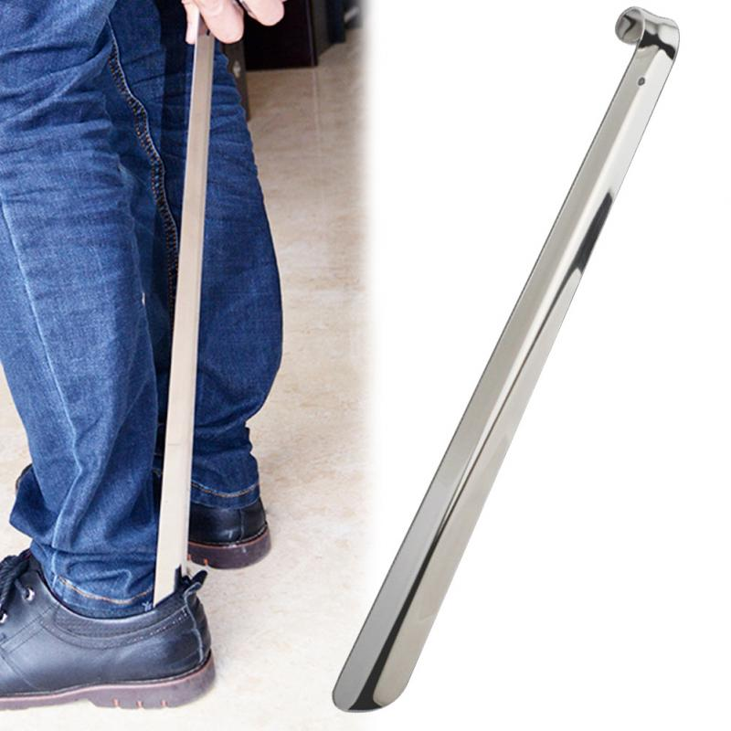 Adults Home Stainless Steel Shoe Horn  Long Handle Shoes Lifter Pull Shoehorn Slip Handle Portable Shoes Remover Durable
