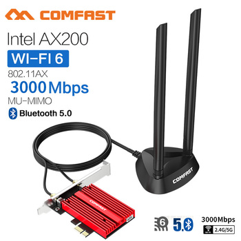 Dual band 3000Mbps Wifi 6 AX200NGW PCI-E 1X Wireless Adapter 2.4G/5Ghz 802.11ac/ax Bluetooth 5.0 For Win10 AX200 Network Card dual band 2400mbps wifi 6 ax200ngw pci e 1x wireless adapter 2 4g 5ghz 802 11ac ax bluetooth 5 0 for ax200 network card