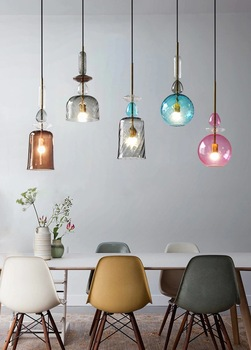 Nordic Art Creative Colorful Glass Pendant Lamp Retro Loft Bar Coffee Shop Light Free Shipping LED Bulbs Cord Pendant Modern E27 post modern individuality iron pendant lamp restaurant cafe bar hotelroom decoration light free shipping led bulbs cord pendant
