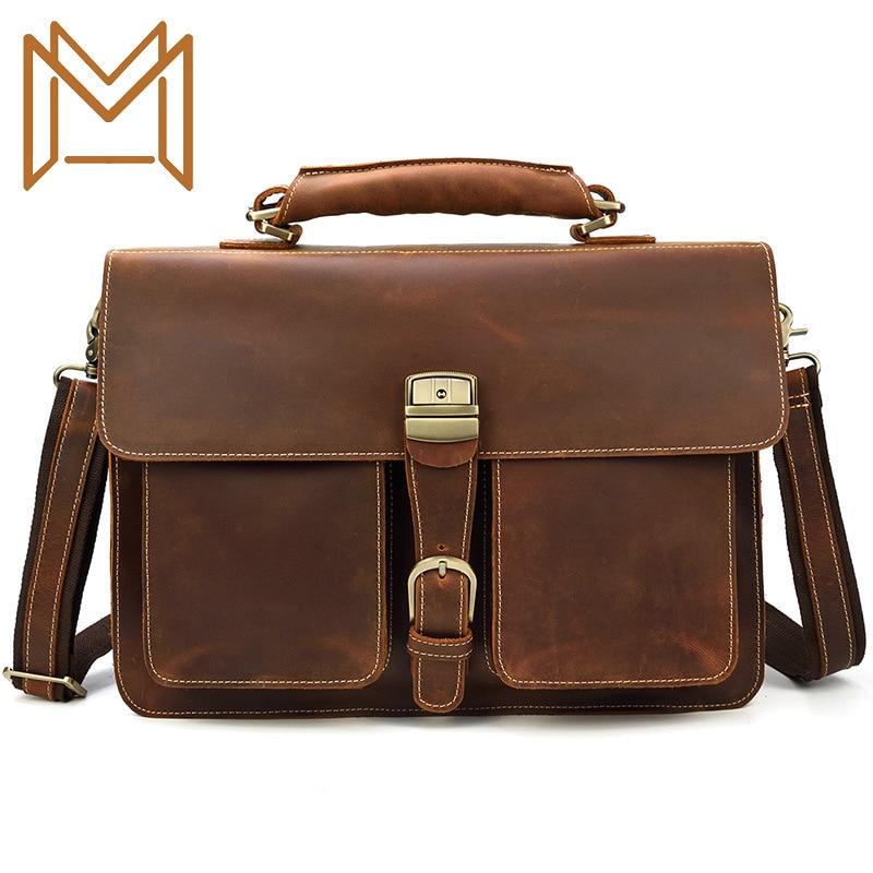 Man Genuine Leather Briefcase Man Handbag Crazy Horsehide Both 14 Inch Computer Package Single Shoulder Package