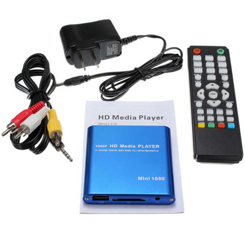 Ams-eu Plug 1080P Mini odtwarzacz multimedialny hdd Hdmi Av Usb Host Full Hd z czytnikiem Sd karta mmc obsługa H.264 Mkv Avi 1920x1080P 100Mpb