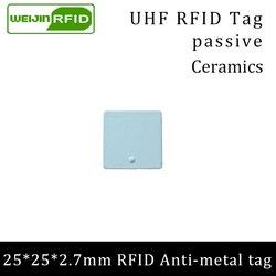 Uhf Rfid Anti-Metal Tag 915 Mhz 868 Mhz Alien Higgs3 Pallet EPCC1G2 6C 25*25*2.7mm Vierkante Keramiek Smart Card Passieve Rfid Tags