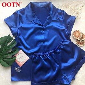 Image 2 - OOTN pyjama dété 2 pièces pour femme 2020, en soie solide, manches courtes, chemise + Short, vêtements de nuit décontracté