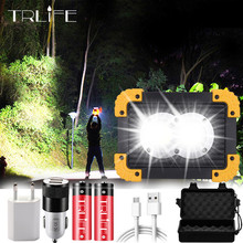 Portable LED Flashlight COB Work Light Floodlight Searchlight Waterproof USB Rechargeable Power Bank For outdoor Camping