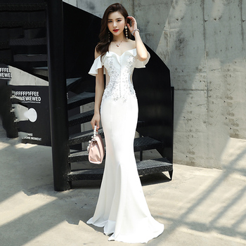 Sexy Women Off Shoulder Qipao Elegant White Silm Evening Party Gown Exquisite Rhinestone Maxi Dress Novelty Fishtail Dress