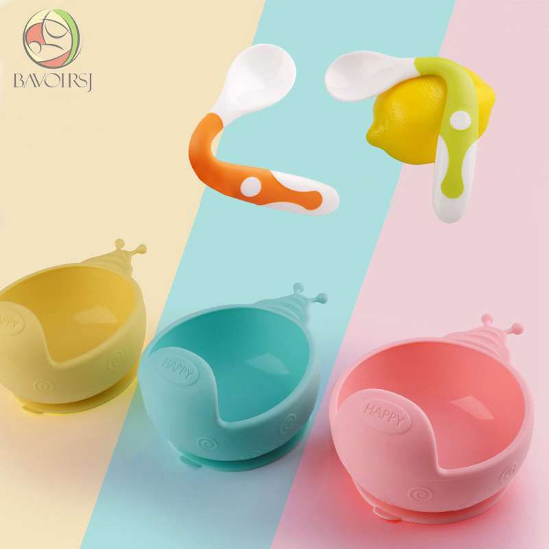 Bavoirsj Silicone Baby Bowls Set Waterproof Non-Slip  Silicone Spoon Kids Baby Feeding For Baby Care Teether Tableware