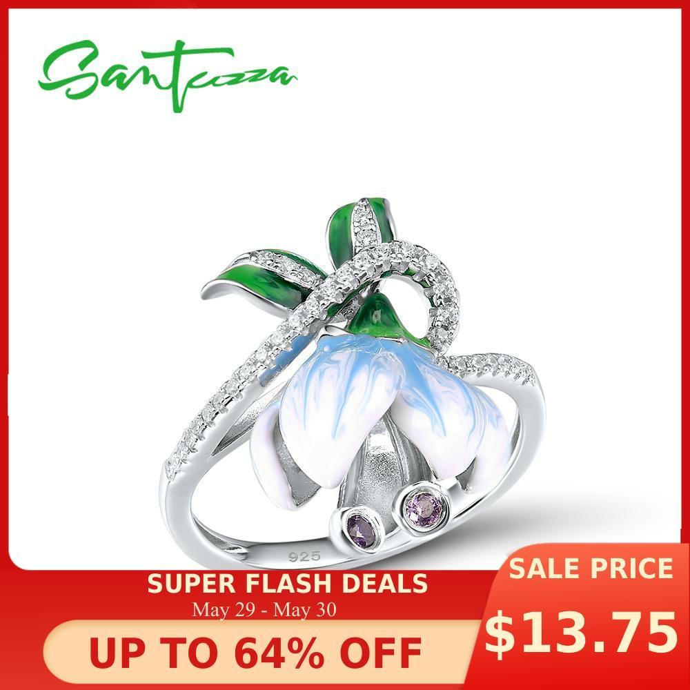 SANTUZZA Silver Rings For Women Genuine 925 Sterling Silver Exquisite White Blooming Flower Fine Jewelry Handmade Enamel