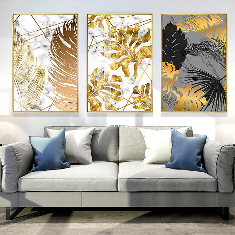 For Living Room Canvas 1PC Home Decoration Painting Bedroom Dinning Room Pictures Nordic Plants Golden Leaf Posters Wall Art