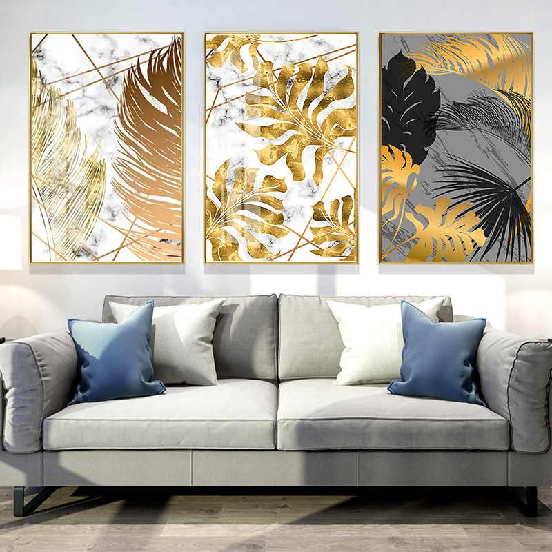 لغرفة المعيشة قماش 1 قطعة ديكور المنزل اللوحة غرفة نوم غرفة الطعام صور الشمال النباتات الذهبي ورقة الملصقات جدار الفن