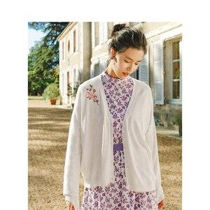 Image 2 - Inman decote em v bordado literário retro moda tudo combinado curto cardigan feminino