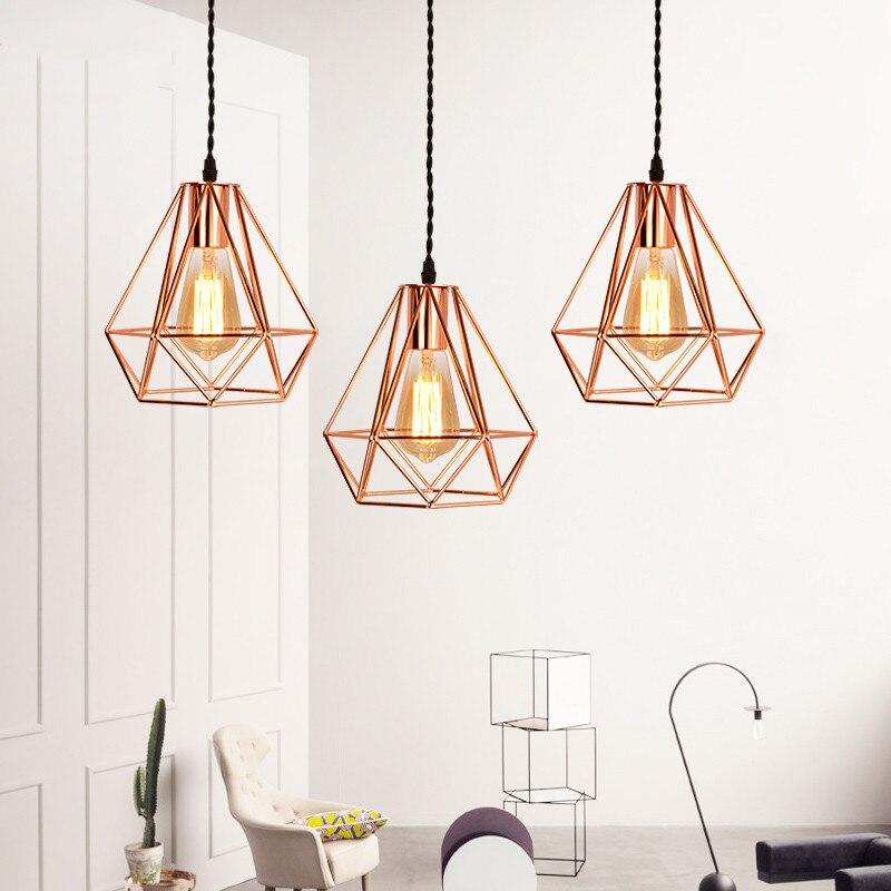 Modern Plating Metal Cage Pyramid Pendant Lamp Vintage Plating Rose Gold Chandelier Birdcage Creative Hanging Lamp For Island