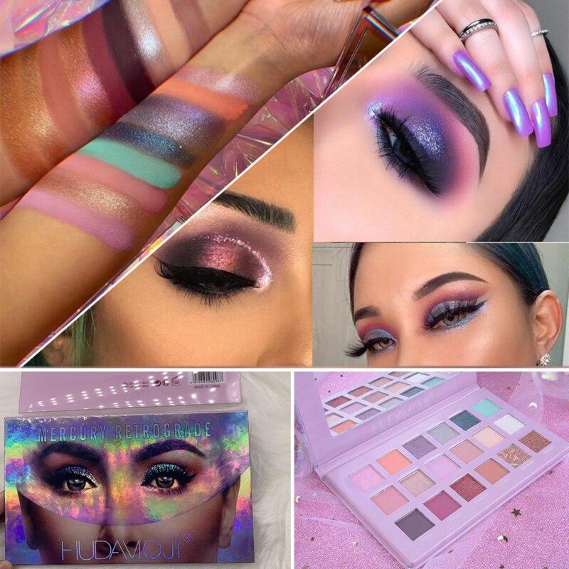 HUDAMOJI Matte Pearlescent Eyeshadow Palette 18Color Pigment Waterproof Nude Eyeshadow Palette Eye Makeup Cosmetics TSLM