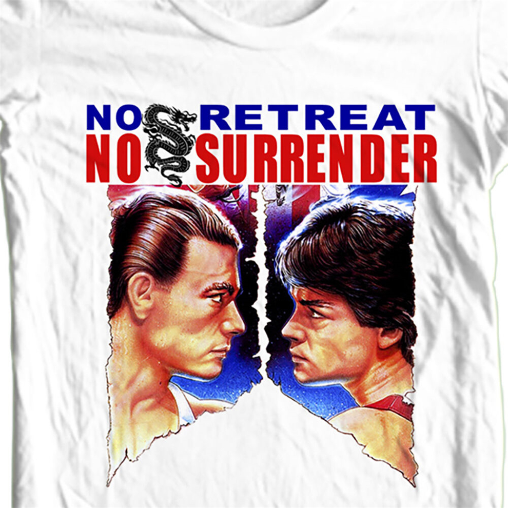 No Retreat No Surrender T-Shirt Retro Karate Movie Old Style Film Free Shipping Funny Design Tee Shirt image