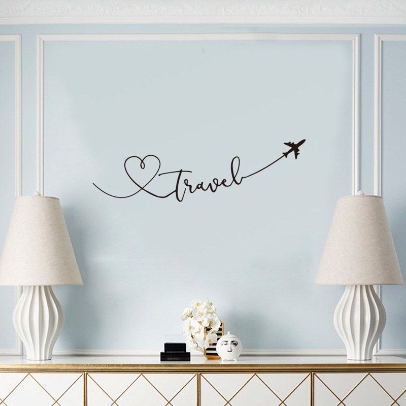 CREATIVE Travel Theme Wall Sticker Art Font Bedroom Living Room Decoration Decals Wallpaper Hand Carved Home Background Stickers