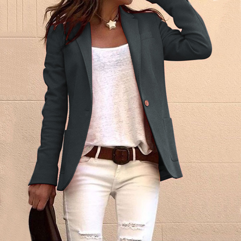 Suit Blazer Jacket Coat Long-Sleeve One-Button Female Office Lady Femme Slim Solid G30 title=
