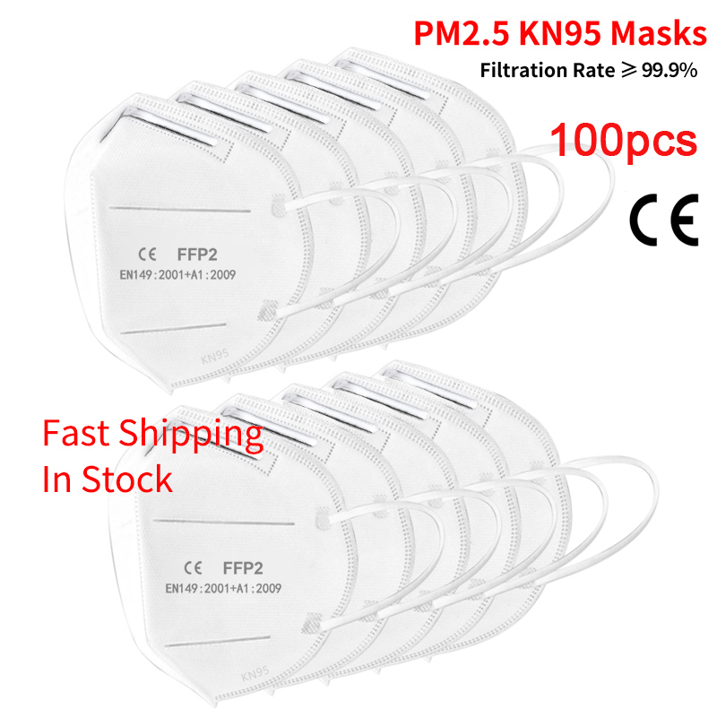 100pcs KN95 Mask Dust Masks N95 FFP2 Mask Prevent Anti Dusts PM2.5 Bacterium Safety Disposable Mask Face Mouth Masks Ship Fast