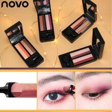 NOVO New Double Color Shimmer Matte Eyeshadow Palette Brighten Eye Makeup Waterproof Pigment Lazy Shadow Cosmetics Beauty