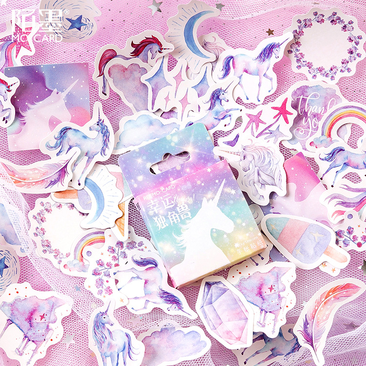 Mohamm 46Pcs Box Sticker Lucky Unicorn  Hand Account Notes Decorative DIY Sticker Universal Sealing Sticker
