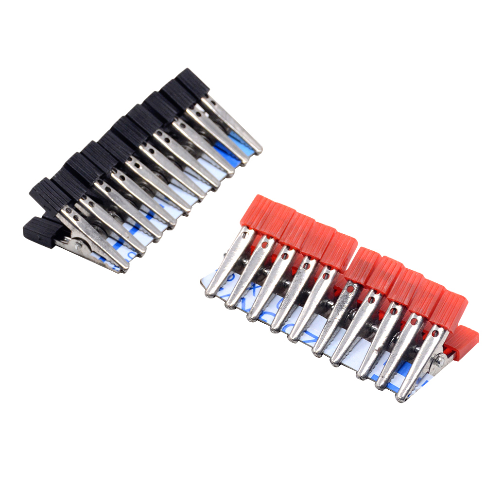 """10 шт. изолированные зажимы типа """"крокодил"""" пластиковая ручка кабель свинца тестирование металлический зажим типа крокодил Захваты 35 мм длина"""
